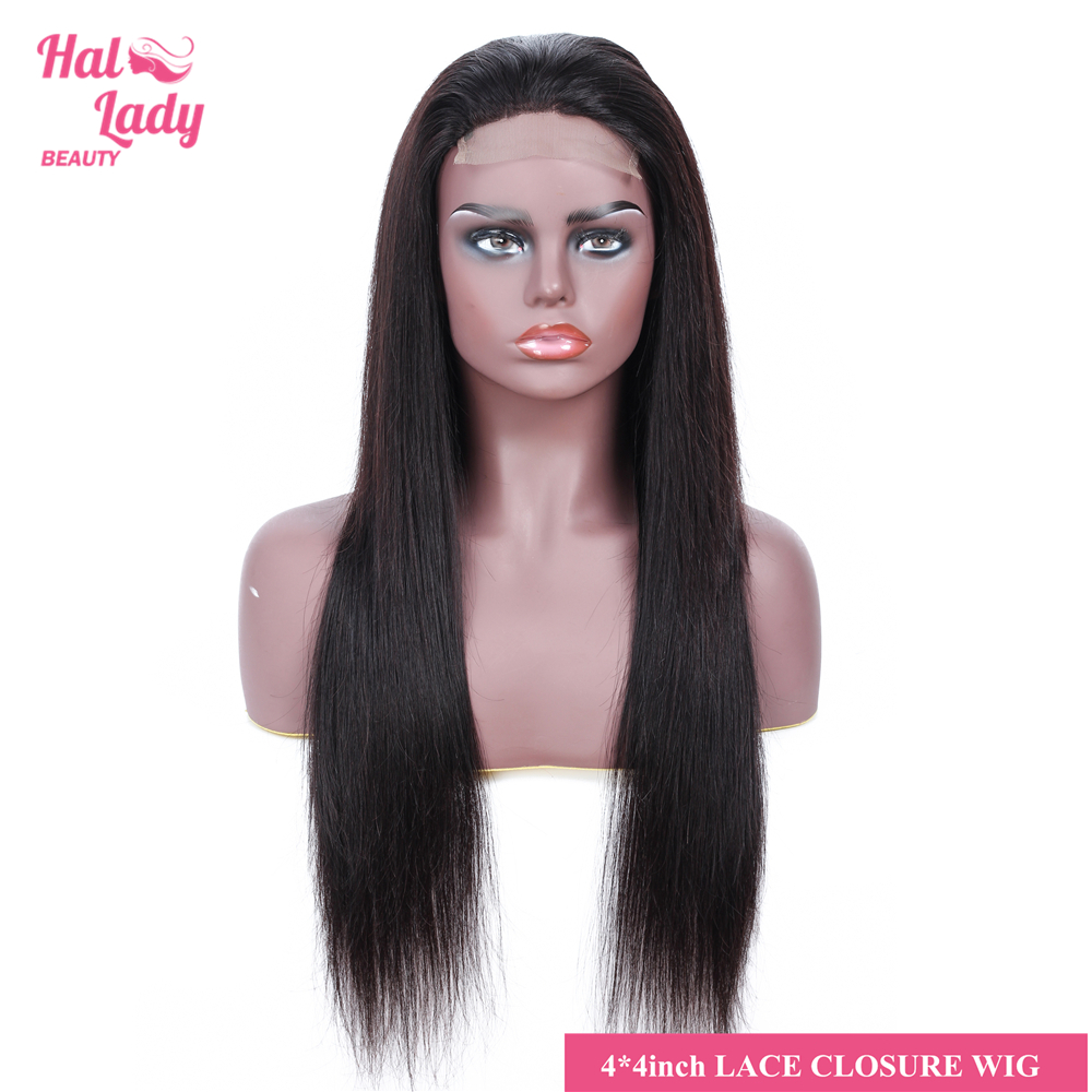 Halo Lady Beauty 4*4 Lace Front Human Hair Wigs Brazilian Straight Lace Front Closure Wig with Baby Hair Non-remy For Women 130%(China)