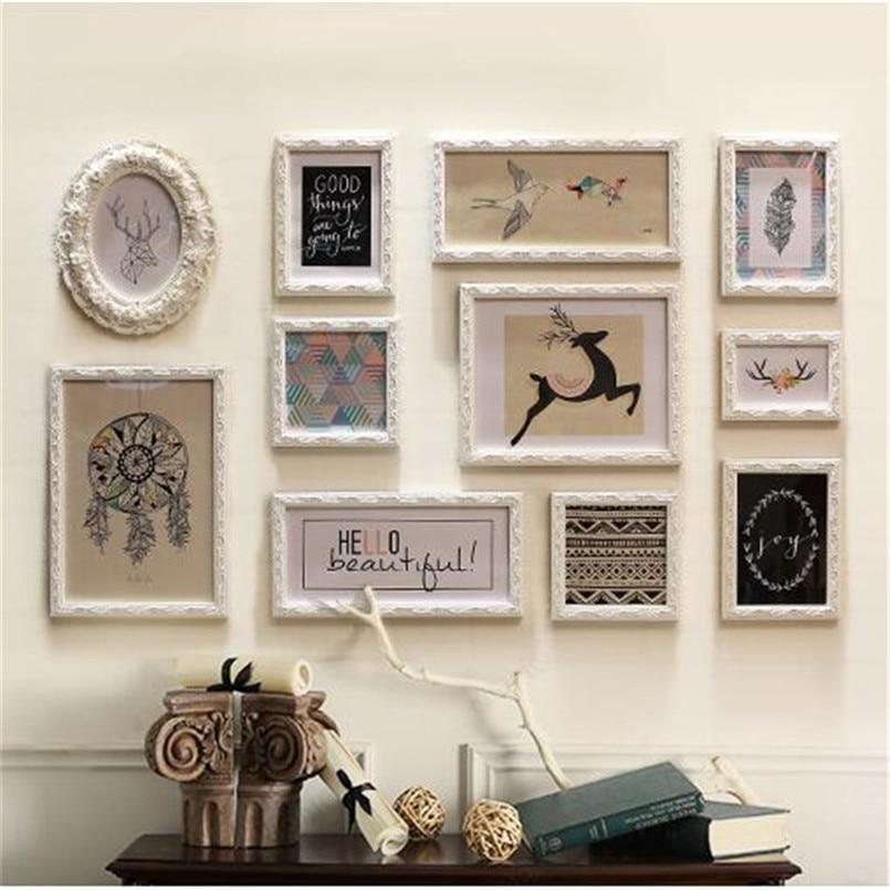 Porta Retrato amour corniche foto combinaison bois vintage cadre Photo ensemble photos murales papier mur Photo décoration de la maison cornici