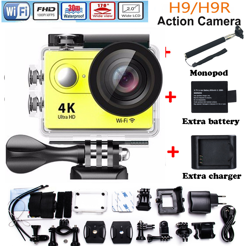 ФОТО H9/H9R remote Action camera Ultra HD 4K WiFi 1080P 170D lens Helmet Cam go waterproof pro camera + Extre battery charger Monopod