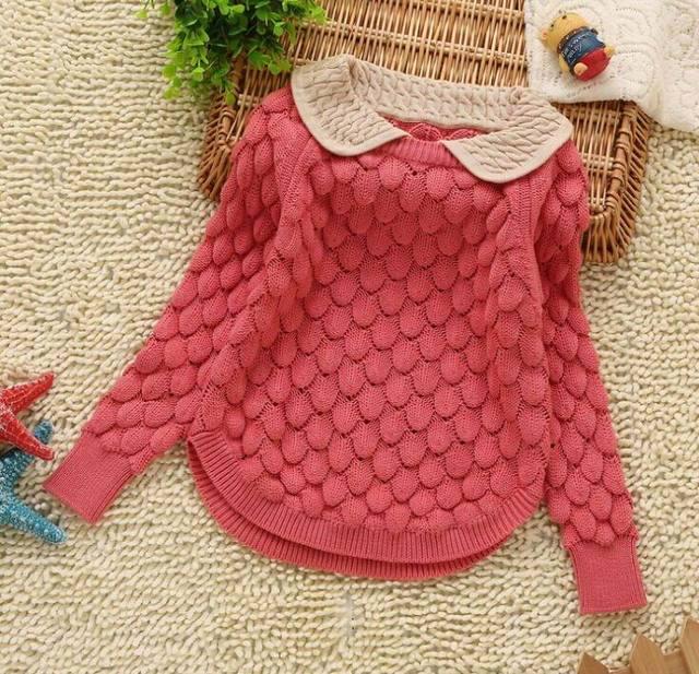 Suéter de la muchacha Niños de Los Niños Del Otoño Del Resorte Gira el Collar abajo Flaps 2-5Y Knitting Pullover Sweater 8858