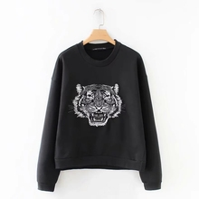 a658c606ef89 2018 fashion women tiger pattern embroidery knitting pullovers casual long  sleeve smock vintage loose black tops
