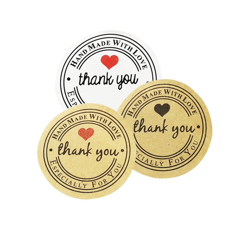 100 Pcs Round Thank you Kraft Paper Seal Sticker For Handmade Products DIY Self-adhesive Cake Packaging Lable 3Color 120pcs lot round kraft paper seal sticker romantic bicycle heart holiday thank you stickers packaging label material supplies