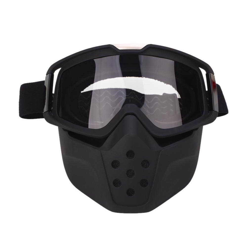 WoSporT Windproof Skiing Eyewear Skiing Mask Dustproof Motorcycle Riding Face Mask Detachable Goggles Mouth Filter