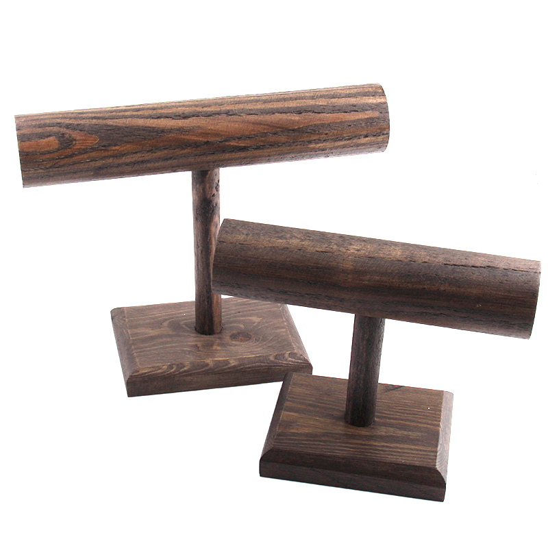 Free Shipping DIY Brown Wood Display T-BAR Watch/Bracelet Jewelry Display Stand Holder