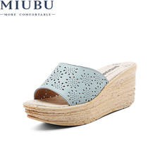 MIUBU Women Mules Clog Shoes Leather Slip On Peep Toe Ladies Cork Wedge Sandals Female Platform Flats Summer