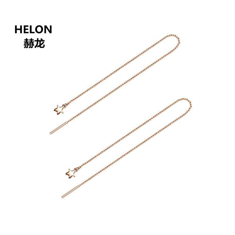 Solid 18k Rose Gold Women Earrings Engagement Wedding Star Earrings Chain цена 2017