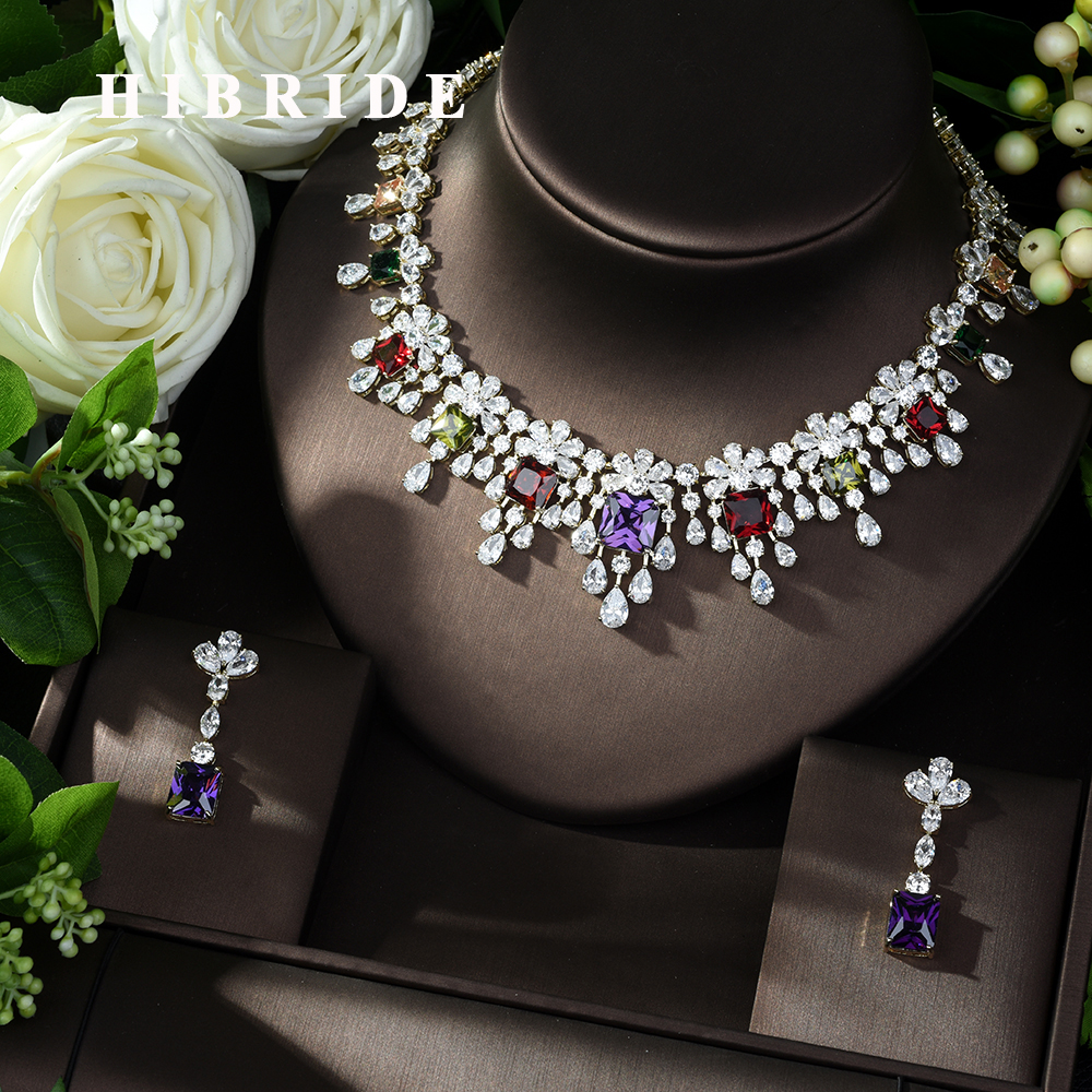 HIBRIDE New Fashion Wedding Jewelry Sets AAA CZ Stone Bridal Earrings Necklace African Jewelry Set Parure Bijoux Femme N-986HIBRIDE New Fashion Wedding Jewelry Sets AAA CZ Stone Bridal Earrings Necklace African Jewelry Set Parure Bijoux Femme N-986