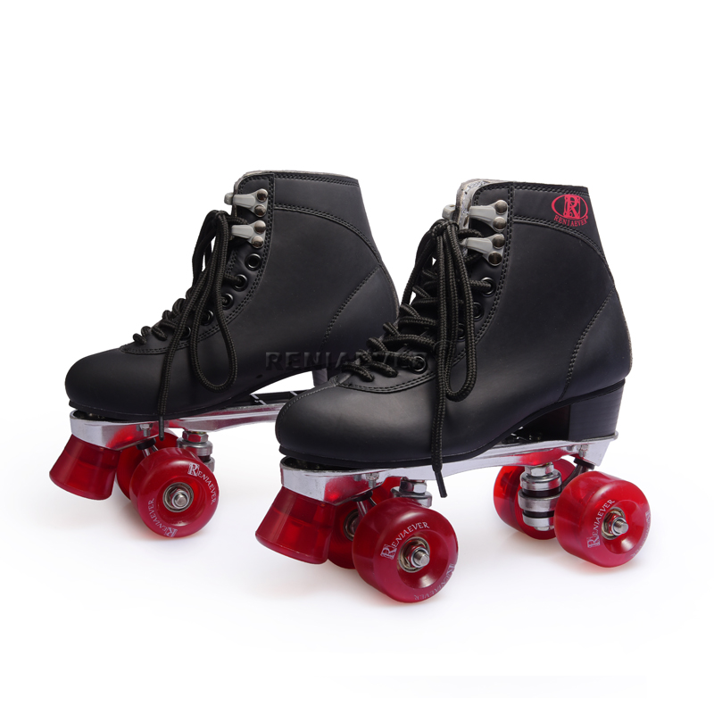 Reniaever gifts, girls, outdoor street riding, double roller skates, aluminum base, black wine, red wheels free shipping 76mm 95a outdoor roller skates brake pulley wheel green black yellow