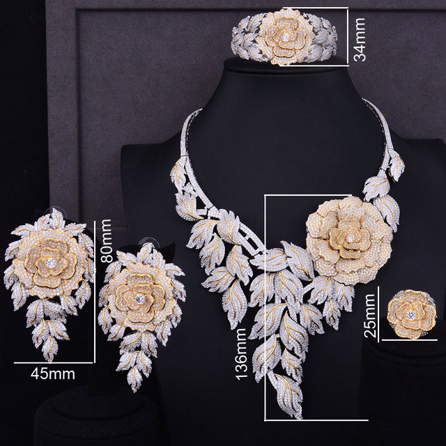 Boom Rose Flower Cluster Cubic Zirconia Jewelry Set