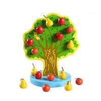몬테소리 교육 나무 장난감 자기 사과 나무 아기 장난감 유아 유치원 교육 수학 장난감 아이 생일 선물