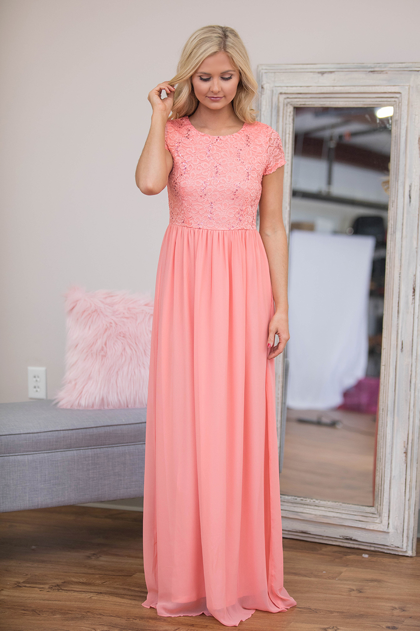 Coral lace chiffon long modest bridesmaid dresses with cap sleeves coral lace chiffon long modest bridesmaid dresses with cap sleeves a line floor length country style formal bridesmaid gowns in bridesmaid dresses from ombrellifo Choice Image