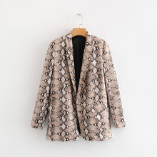 Spring Autumn Small Suit with Tailored Collar Long Sleeve Medium and Long Serpentine Suit  Single Button  Print Women's Blazers