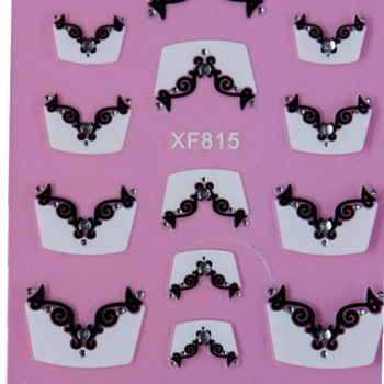 1 sheet French Style 3D Design Nail Art Stickers Transfers Decals Manicure Tip DIY Nail Decoration with Rhinestones #XF815