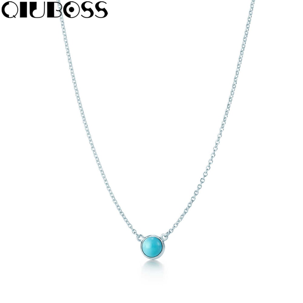 QIUBOSS S925 TiffanySilver Fashion Lady 925 Sterling Silver Necklace Turquoise Pendant Valentine's Day Gift 27906508 qiuboss s925 tiffanysilver fashion woman round pendant 925 sterling silver pendant clavicle ms clavicle necklace