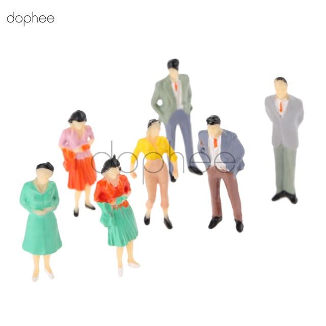 Dophee 100 шт. модель макета здания люди поезд хо масштаб окрашенный рисунок пассажира 1: 75 1: 100 1: 200