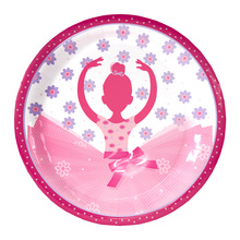 10pcs 7inch diameter 18cm Pink Ballet girl design Paper Plates for Kids Birthday Party Decoration Supplies