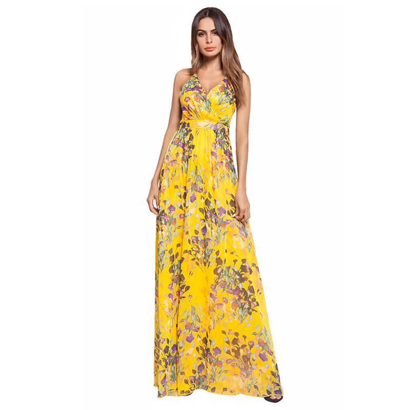 9cc76758f874c Girl Yellow Floral Print Sexy Backless V Neck Women Maxi Dresses ...