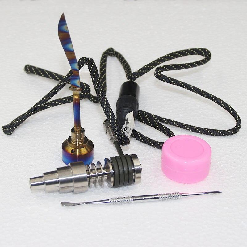 16mm 20mm plat chauffage bobine E clou D ongle Fit 6 en 1 arc-en-ciel couleur Carb C titane clou vs Quartz clou pour cadeau de noël