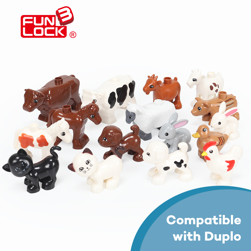 Funlock Duplo Figure Blocks Black Cat, Brown Dog, Goat,White Bunny,Cattle,White Horse,Duck,Pig Animal Toys For Kids lps pet shop toys rare black little cat blue eyes animal models patrulla canina action figures kids toys gift cat free shipping