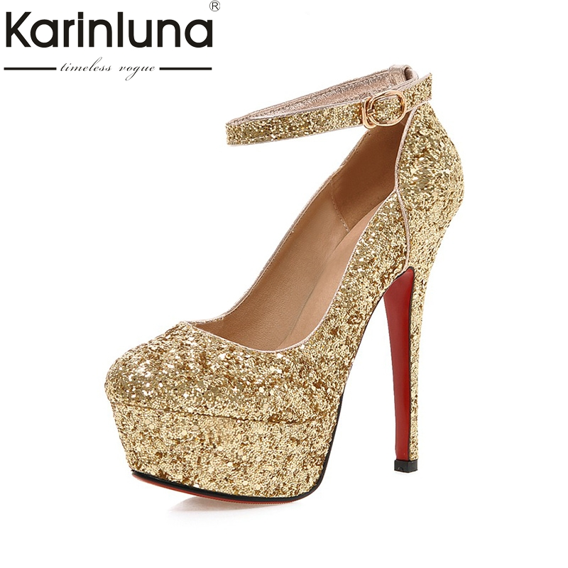 KarinLuna Wholesale Big Size 32-43 Pumps Shoes Women Spring Bling Upper Thin High Heels Sexy Party Wedding Bride Shoes Woman