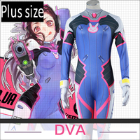 Stock Plus Sizes Game OW D VA Bodysuit Milk Silk Full Set Cosplay Costume 3D