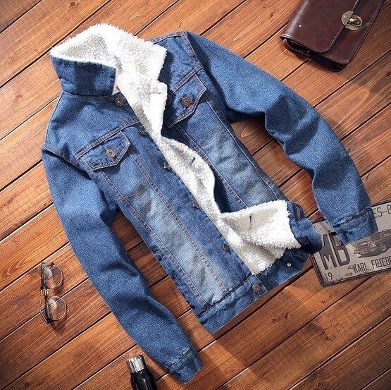 2f6c7af5804 Mens New Winter Thick Faux Fur Denim Jacket 2015 Dark Blue Light Blue Stand  Collar Men Jeans Jacket Slim Fit Mens Coat