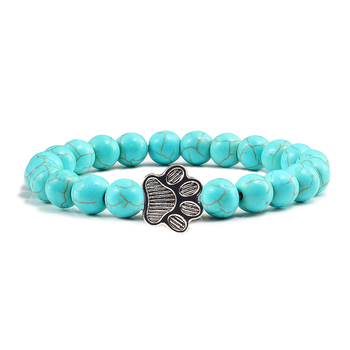 Men Natural Volcanic Stone Bracelet Sliver Cat Paw Black Lava Turquoises Beaded Bracelets Bangles Women Yoga Fashion Jewelry 2