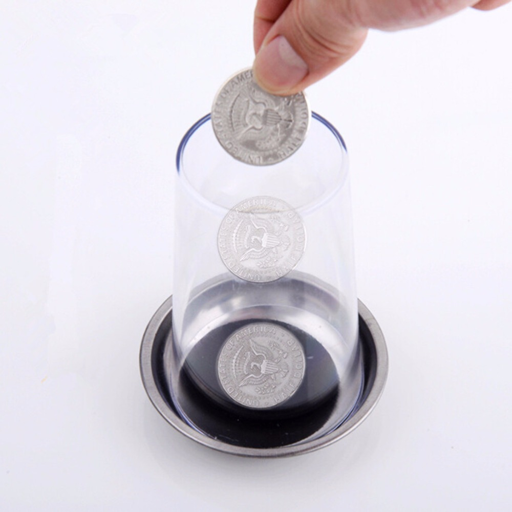 new Coin Penetrates into the Cup Tricks The Good Stretch COINS Through the Glass Magical Steel Cup Mat Magic Trick Props