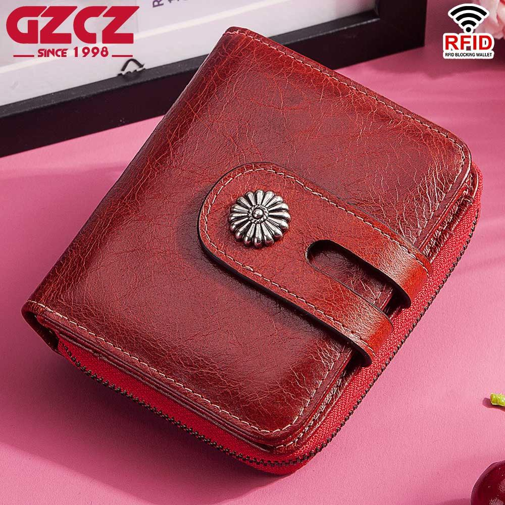 GZCZ New Wallet Female Mini Fashion Women's Genuine Leather Wallets Rfid Small Coin Purse Card Zipper Clamp For Money Portomonee