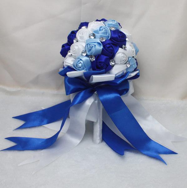 Royal Blue Rhinestone Artificial Bridal Bouquets Bridesmaid Wedding Flower Accessoires De Mariage Blanc