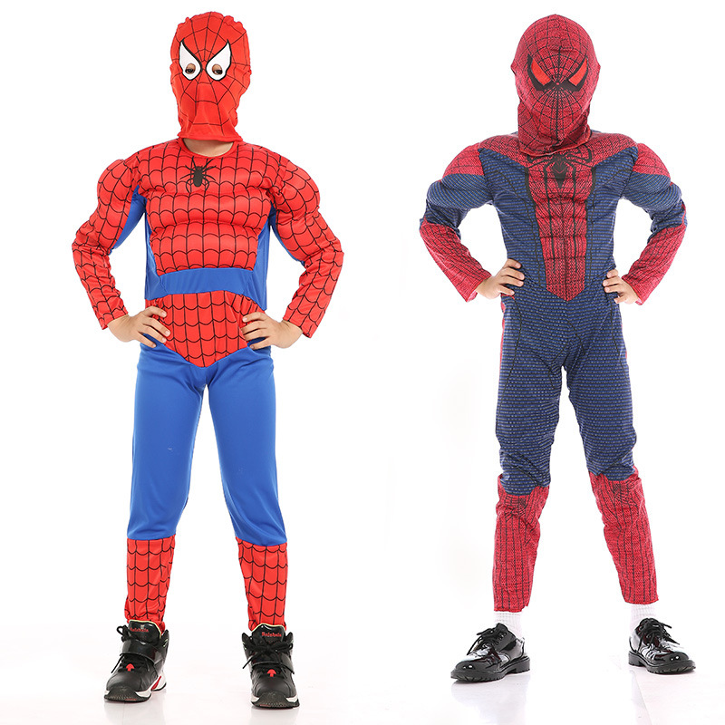 New Children's Halloween Muscle Spiderman Cosplay Costume Super Hero Children's Fancy Jumpsuit Mask Birthday Party Set
