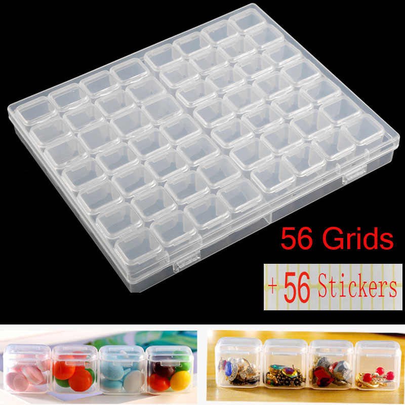 Diamond Mosaic Embroidery Sale!Box 4 Packs 56 Grids Organizer, 5d Siamond Box and Cross Stitch Tools Accessory Containers Art