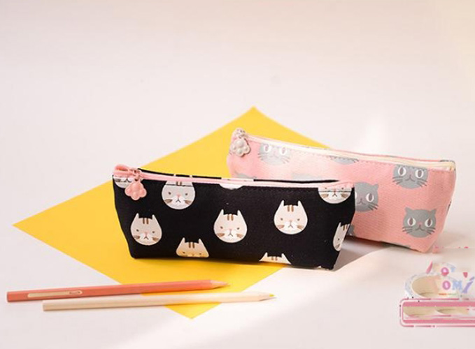 Lovely Cat design School Pencil Case Large Capacity Pencil Bag Canvas For Children Student Kawaii Pen Sack Stationery Supplies