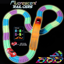 144pcs Glow race Car track Fluorescent Bend Flex Glowing in the Dark Assembly Toys electric Glow tracks with Bridge 1pc Led Car