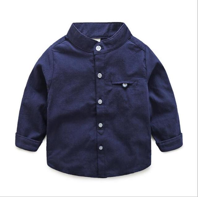 4c1877134 wholesale 5pcs lot children kids boys mandarin collar solid cotton linen  shirt high quality denim long sleeve tops clothes