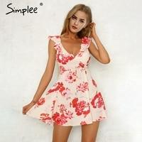 Simplee V Neck Print Backless Sexy Short Dress Women Ruffle Sleeveless Sash Summer Dress 2018 Beach