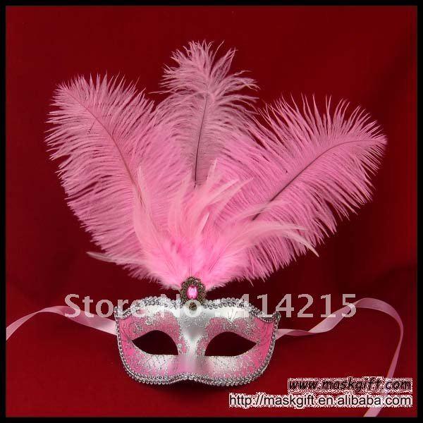 ; красивые розовые и Серебристые пикантные Венецианская маска, перо для маскарада, карнавала маска(A009