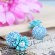 Fashion Hot Sale Flower Earrings For Women Summer Jewelry Double Crack Ball Stud Earrings Pusety Brincos To Wedding Party