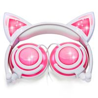 HOT Cat Ear Kids Headphones Rechargeable LED Light Up Foldable Over Ear Headphones