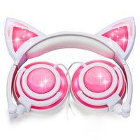 HOT Cat Ear Kids Headphones Rechargeable LED Light Up Foldable Over Ear Headphones
