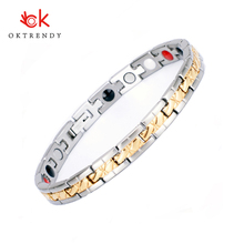 Oktrendy Luxury Healthy Magnetic Bracelet for Women Gold Power Therapy Magnets Stainless Steel Bangles Element Bracelets