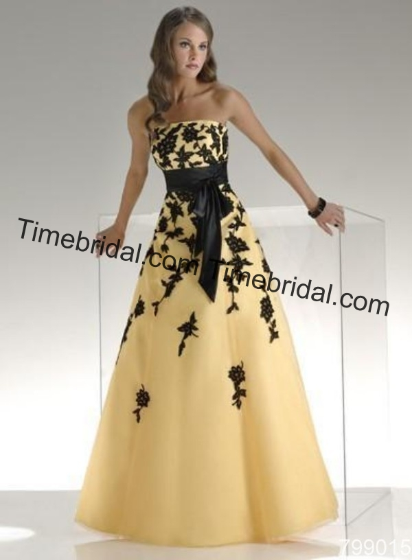 Yellow and black flower floor lenght belt sexy wedding for Black floral dress to a wedding