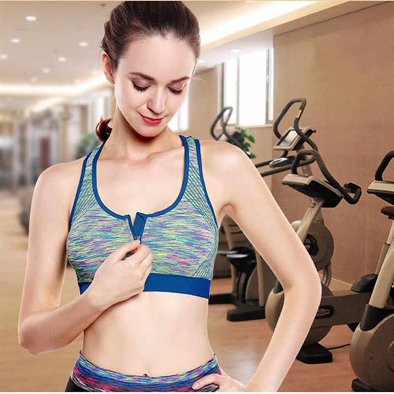 Hot Women Front zipper Sports Underwear Professional Shock-proof Fitness Sports Tops Running Yoga Gym Ladies Slim Bras