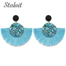 Luxury Brand Round Colorful Crystal Tassel Earrings Rainbow Stone Ribbon Drop Earrings Women's Wedding Jewelry red gray round colorful embroidery drop earrings