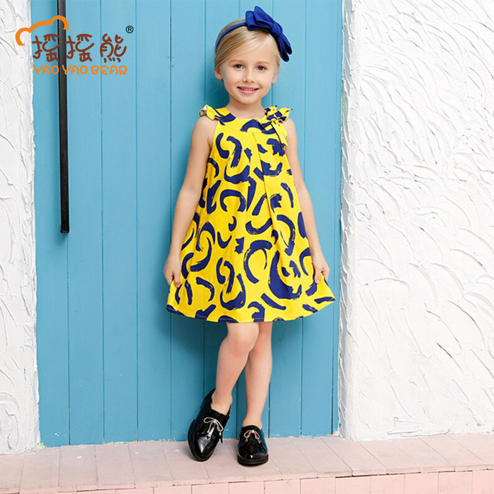 Summer Style Girls Dress Cotton Print Children Clothing Cute Kids Dresses for Girls Sleeveless Princess Dress Girls Clothes children dresses 2017 summer fashion style girls lace princess dress kids sleeveless embroidery cute clothes dress for 3 7y
