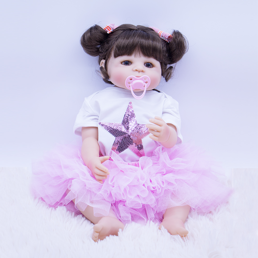 Creative Gift Baby Reborn Newborn Silicone Reborn Baby Dolls Christmas Gifts Fashion Brown Hair Boneca Doll For Kids Body Toys