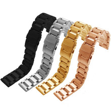 цена на Watch accessories three beads stainless steel ladder strap popular men's fine steel watch belt 18-24mm
