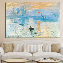 Claude Monet Impression Sunrise Famous Landscape Oil Painting on Canvas Art Poster Print Wall Picture for Living Room Cuadros(China)