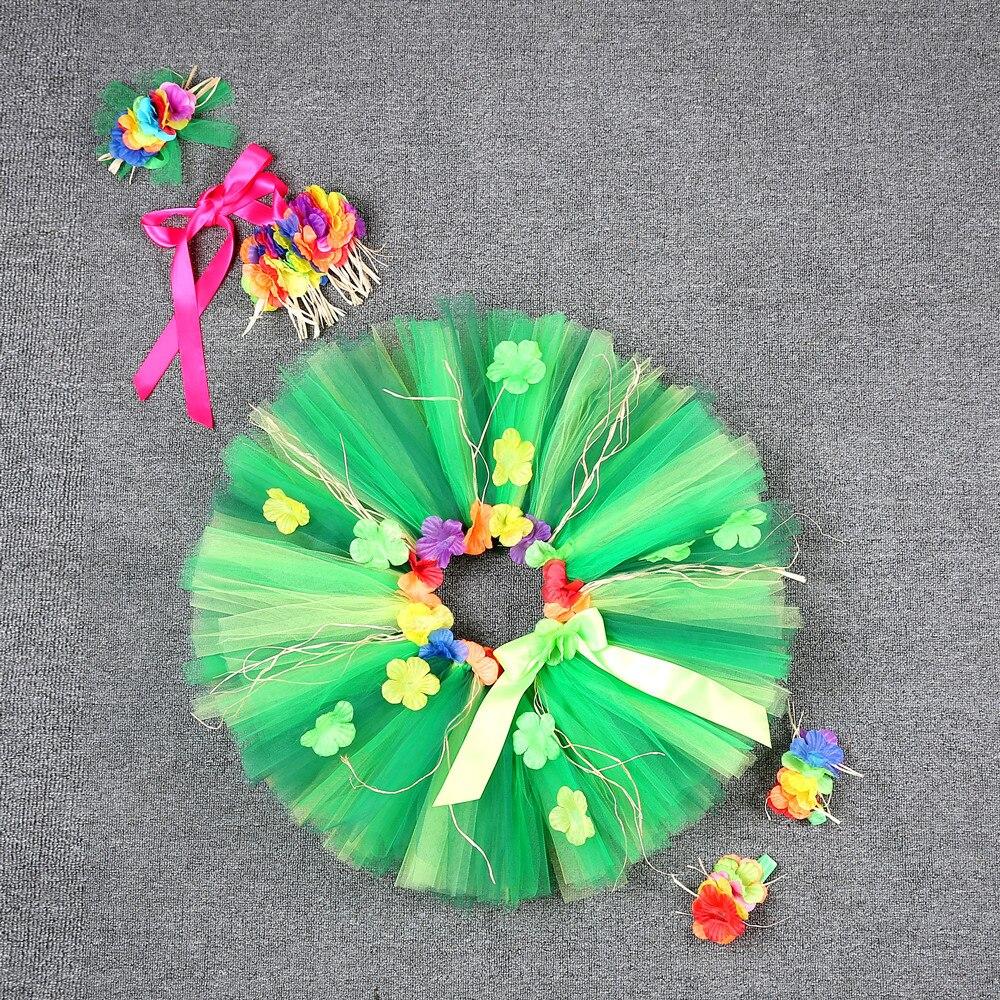 Hawaii Green Flower Fringes Tulle Skirt Girls Solid Mini Skirt for Girls Princess Tassel Party Skirt Baby Photography Costumes (6)