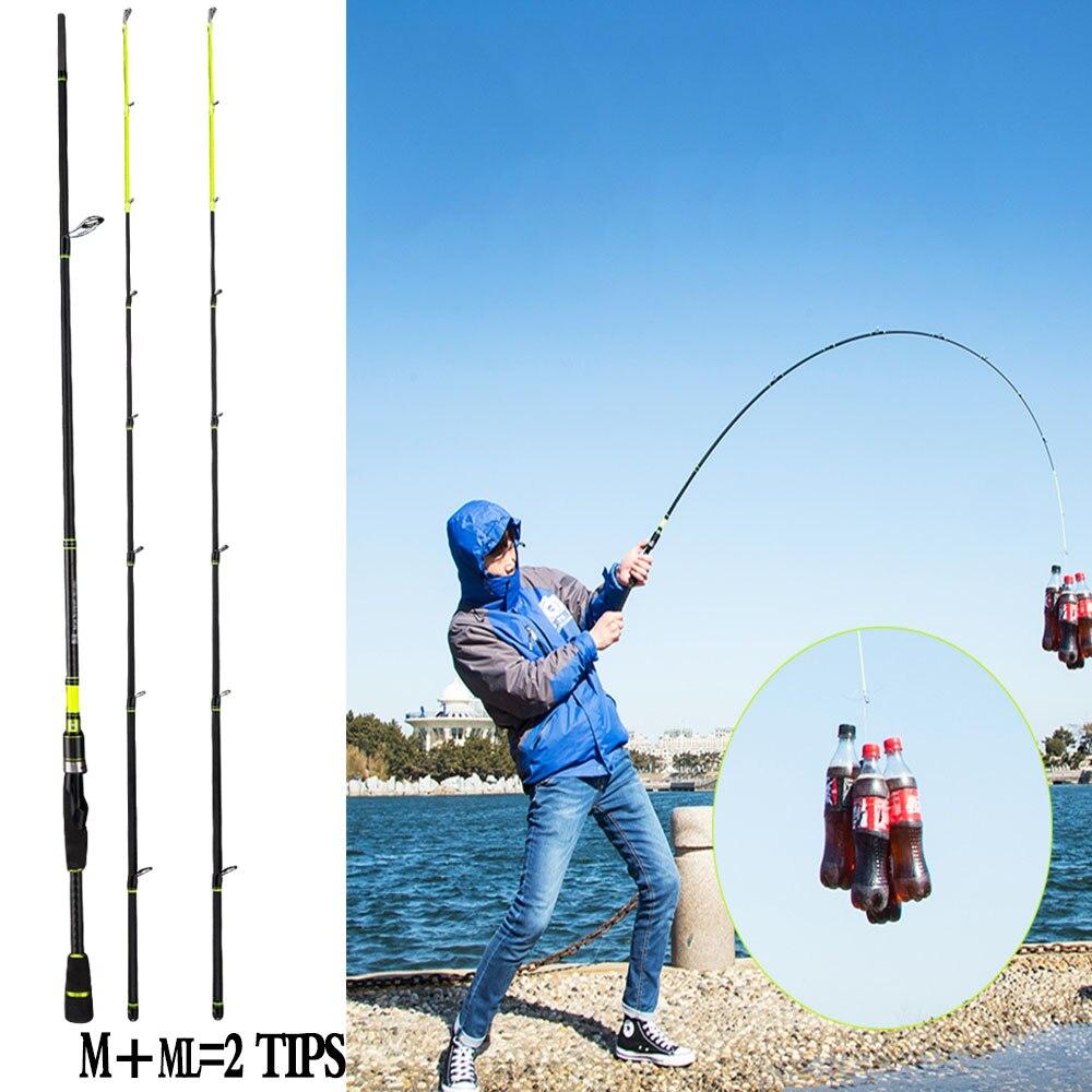 Canne à pêche en carbone 2.1 m 2.4 m canne à pêche canne à carpe pôle ML M 2 embouts pesca canne à pêche canne à pêche canne à pêche 5-20g leurre